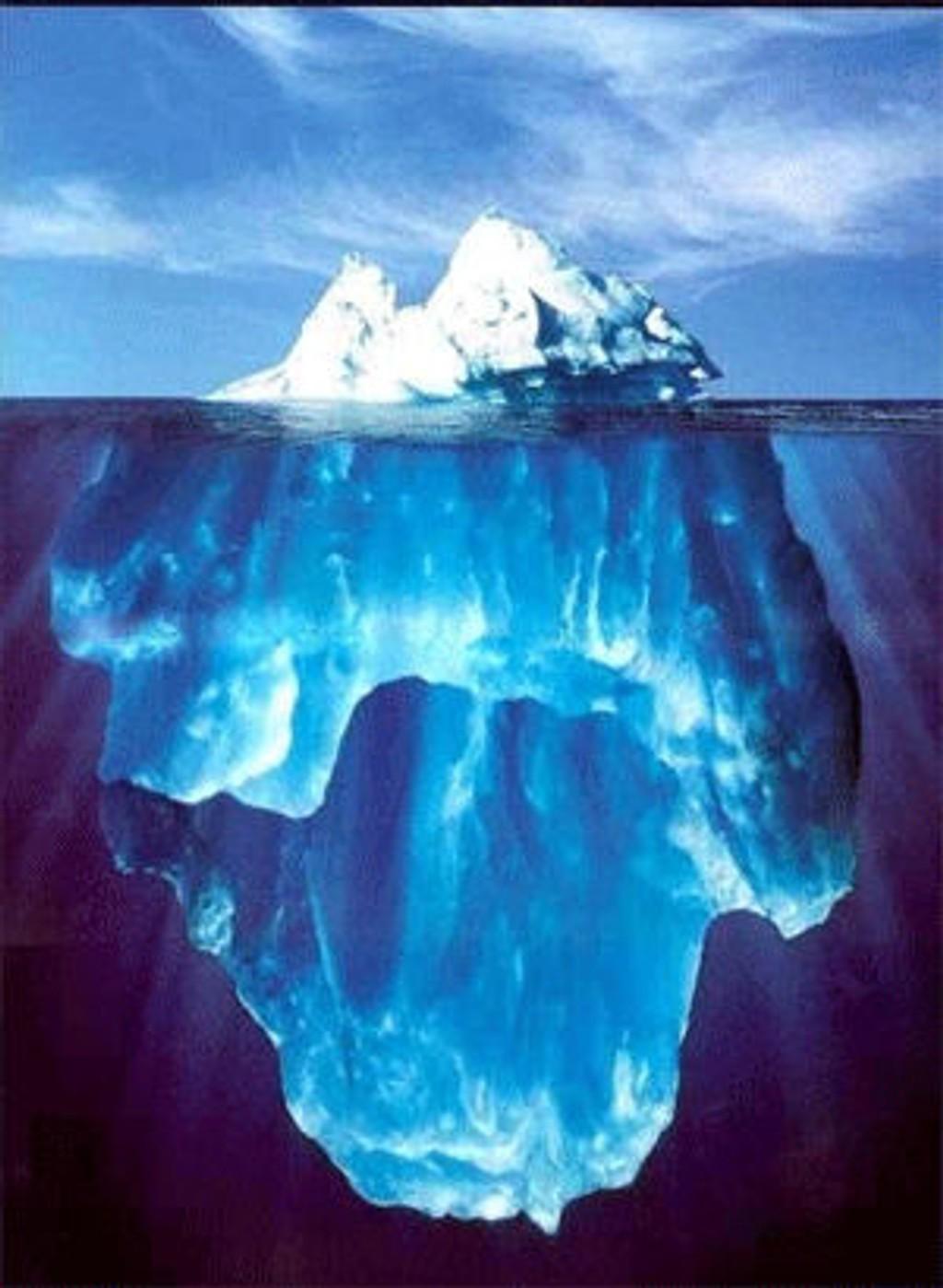 Bildet viser hvor dypt et isfjell kan stikke under havoverflaten. Fjellene som er observert nå er opptil 3 km brede.
