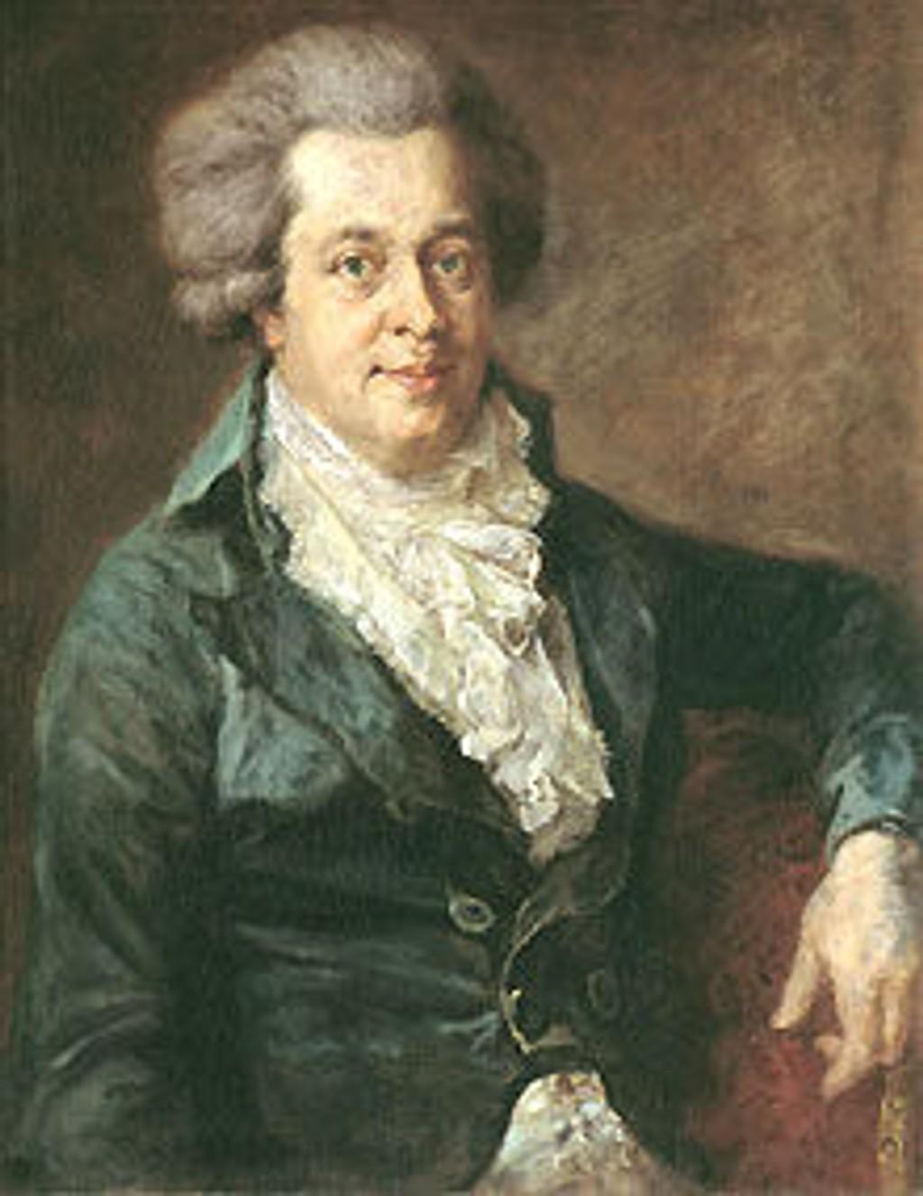 Wolfgang Amadeus Mozart, ett år før han døde i en alder av 35. Malt av Johann Georg Edlinger.
