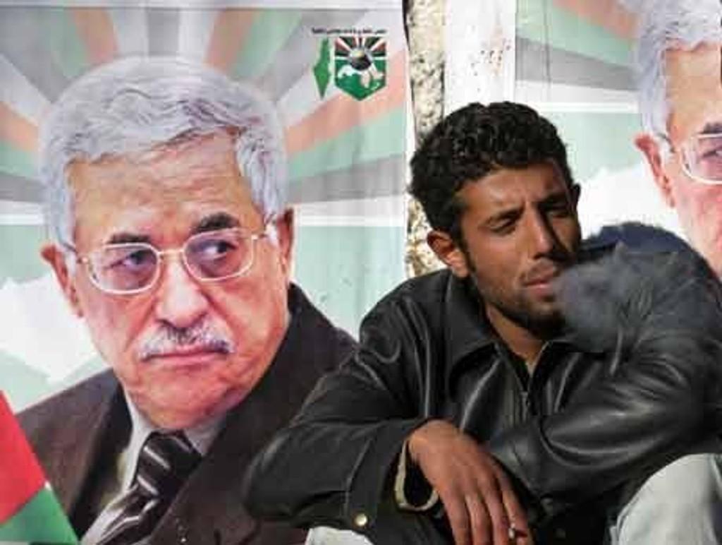Valgkampplakat av Mahmoud Abbas på Vestbredden.