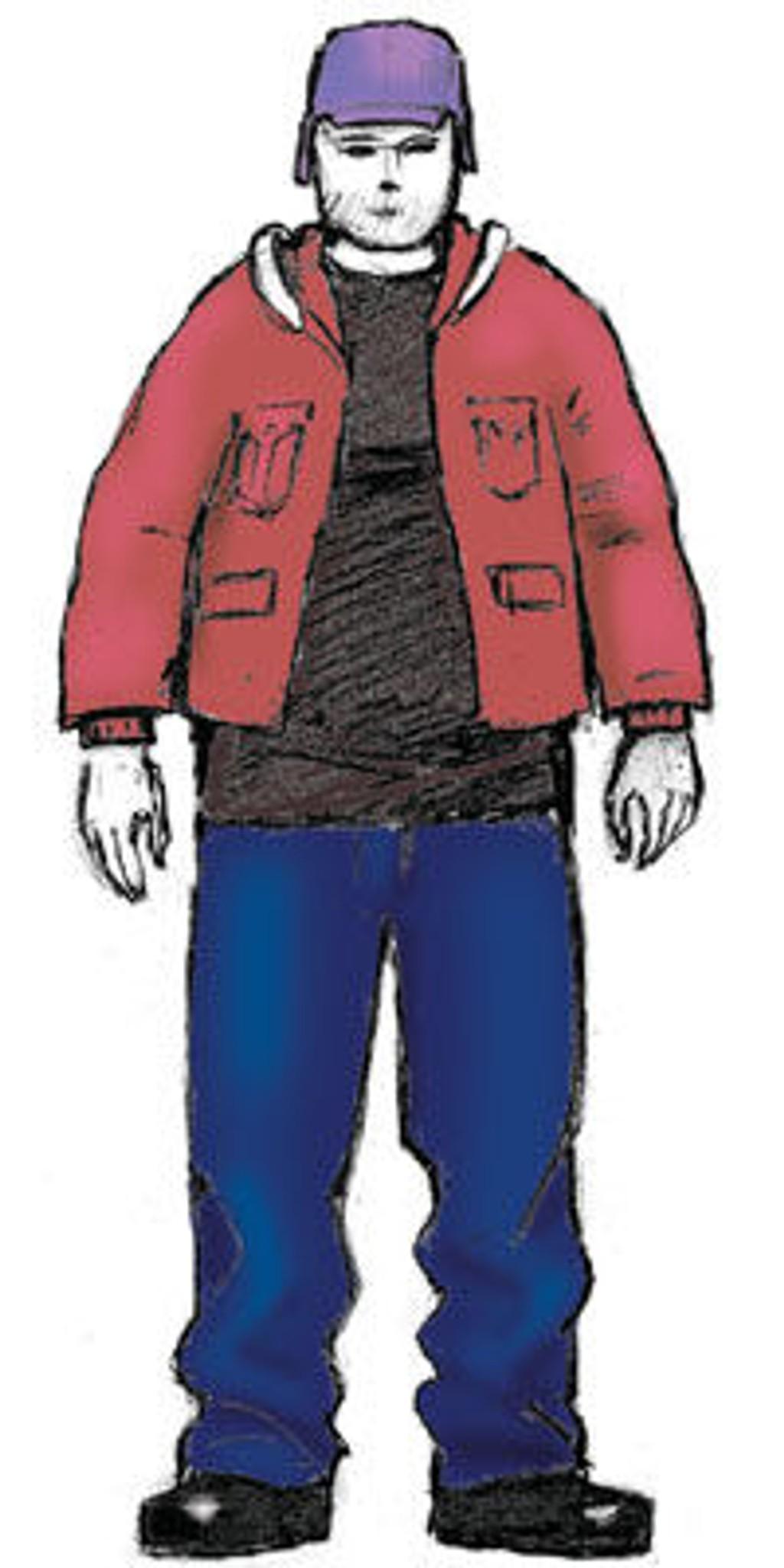 Tegning av mistenkte er laget i samarbeid med fornærmede. Luen til mistenkte er noe lysere enn på tegningen og skoene på tegningen er mye grovere type enn slik fornærmede har beskrevet dem.
