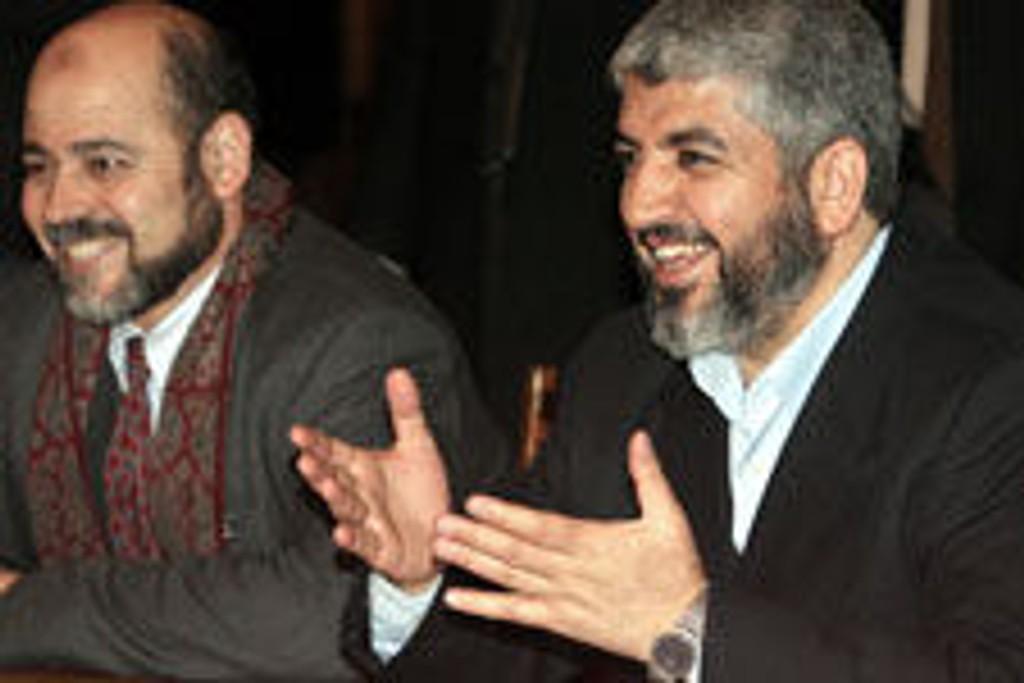 Hamas politiske leder Moussa Abu Marzok (til V) og Hamas politiske leder khaled Meshaal.