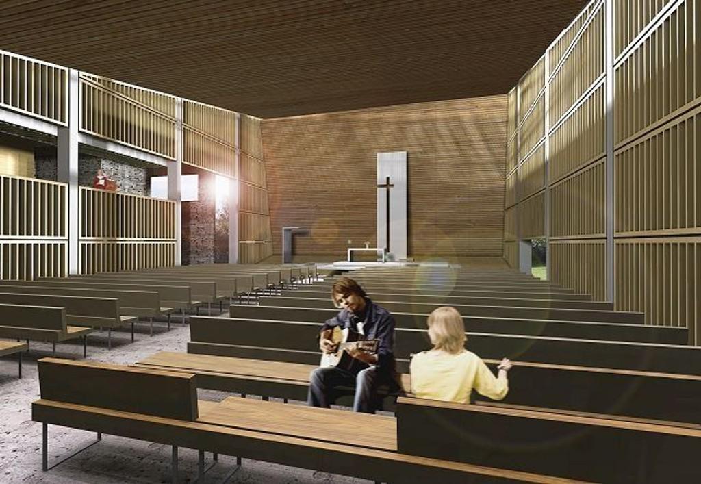 Kirkesalen: Det er planlagt at den nye kirkesalen i Bøler kirke vil se slik ut. Illustrasjon:Hansen/Bjørndal Arkitekter.