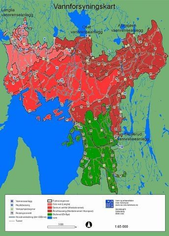 Kokevarsel: Områdene som er røde får drikkevann fra Maridalsvannet. Er du i tvil kok drikkevannet likevel.