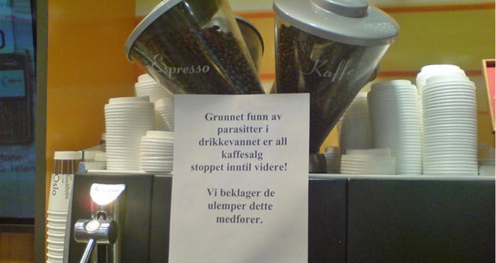 PARASITT-ALARM: 7-Eleven har stanset salget av kaffe i kioskene sine i Oslo.