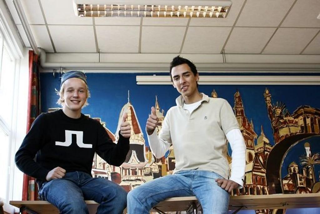 Flinke gutter: Jørund Wessel Carlsen og Nesim Mutevelic sitter i elevrådet og var med på å planlegge OD-dagen på skolen.