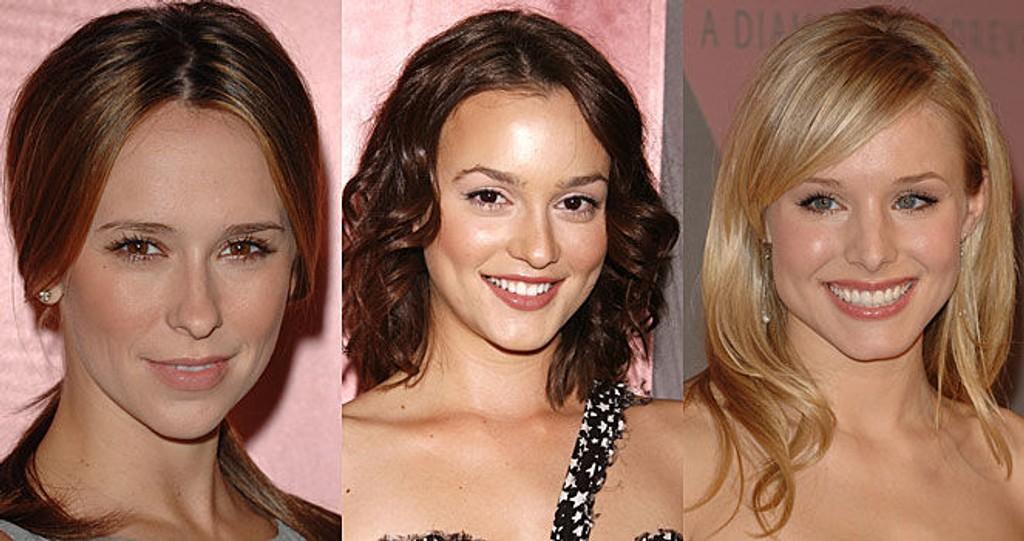 TRENDY STJERNER: Jennifer Love Hewitt, Leighton Meester og Kristen Bell kom alle i nydelige kjoler på fest. Se bildene nederst i saken.