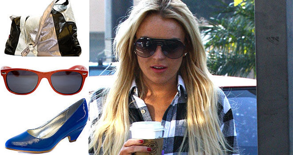 80-TALLS CHIC: Lindsay Lohan digger stilen fra 1980-årene. Rayban Wayfarer-solbriller og store metaliske vesker hører med. Vi gir deg de beste tipsene for trenden her!