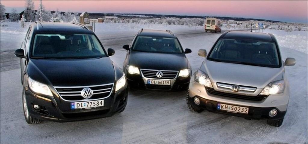 TRE I TEST: VW Tiguan mot VW Passat og Honda CR-V.