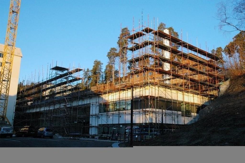 Byggingen av dette sykehotellet på Radiumhospitalet måtte stanses.