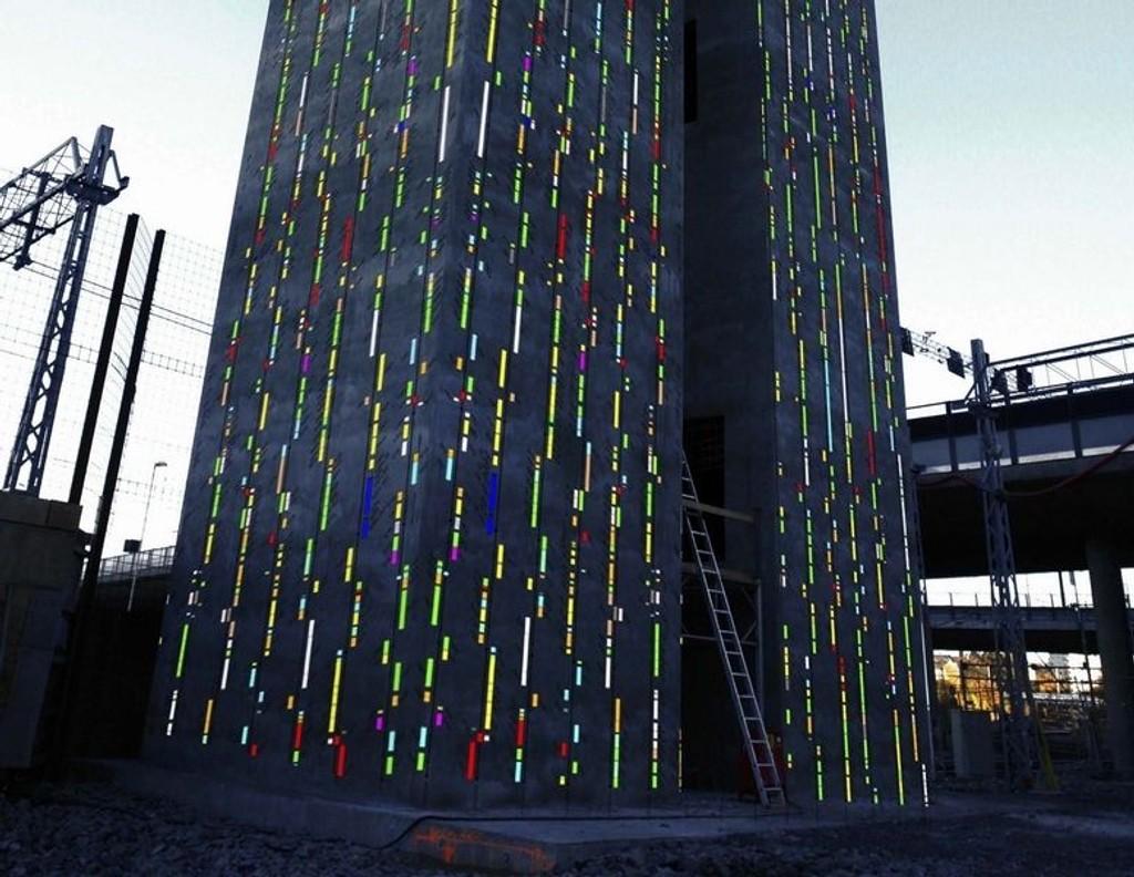 Et fargerikt kunstverk om Svartedauen vil pryde de to lufttårnene i Bjørvika