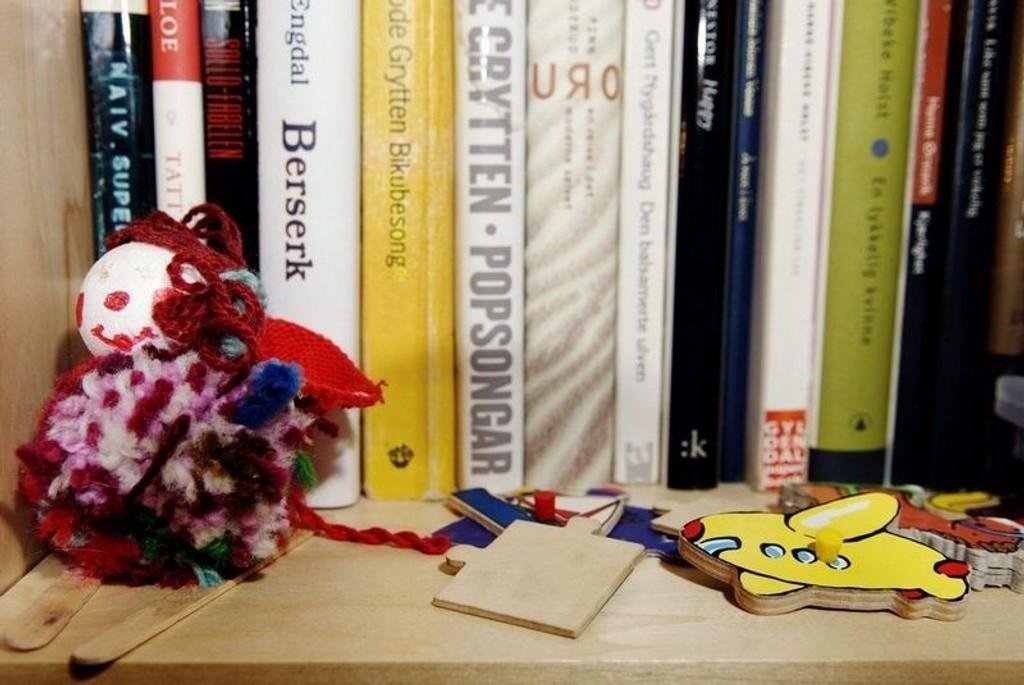 Mye kan få plass i en bokhylle, bare man skyver bøkene litt innover. Utsnitt fra Tuva Ørbeck Sørheims hylller. (Foto: Chris Erlbeck)