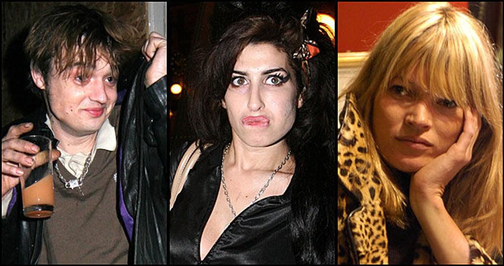 DÅRLIGE FORBILDER: Pete Doherty, Amy Winehouse og Kate Moss har alle florert i media på grunn av dopmisbruk.