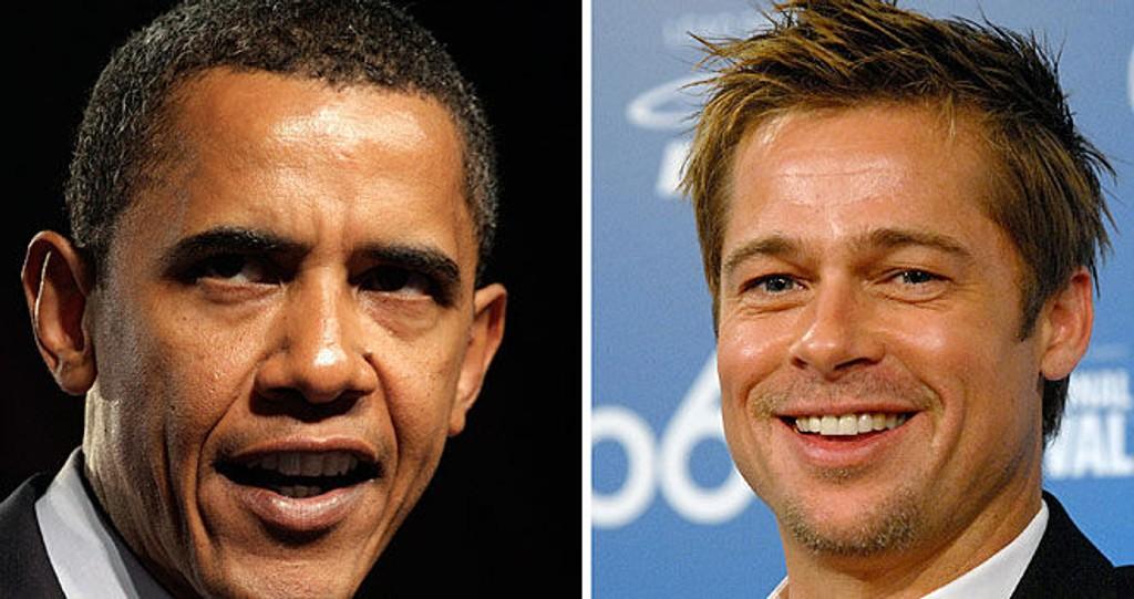 I SLEKT: Presidentkandidat Barack Obama og Brad Pitt er i slekt.