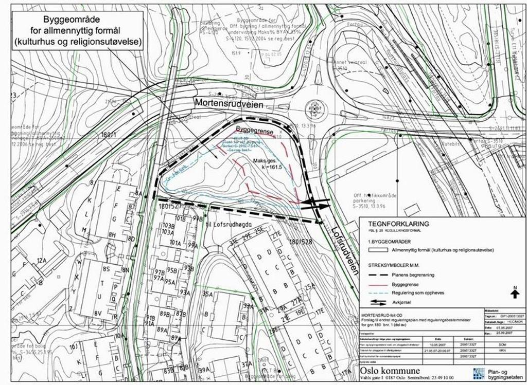 Kulturhuset skal reises på hjørnetomten mellom Mortensrudveien og Lofsrudveien.