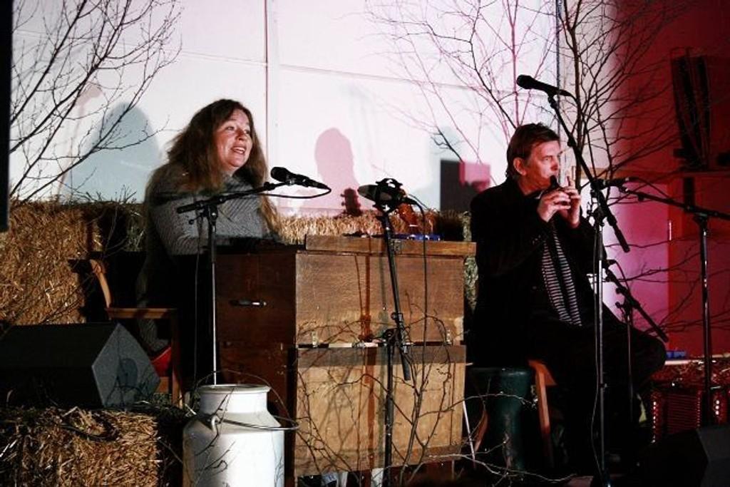 Trøorgel og fløyte var bare to av de mange instrumentene som Tone Hulbækmo og Hans Fredrik Jacobsen trakterte under konserten på Lindeberg gårds låveloft.
