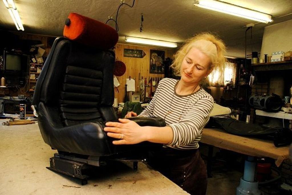 Innredet grombilen: Heidi Throndsens svigerfar, Erik Engh leverte skinninteriør til en av verdens mest berømte biler, Il Tempo Gigante. Det er det lov å være stolt av. foto: Alexander Synstad