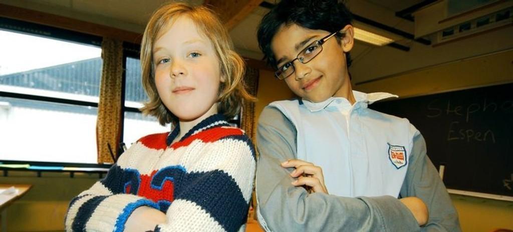 5. klassingene William Simensen Eljarbø og Michael Ricardo Kihla Halvorsen er klare for TVruta. Foto: Elisabeth C. Wang