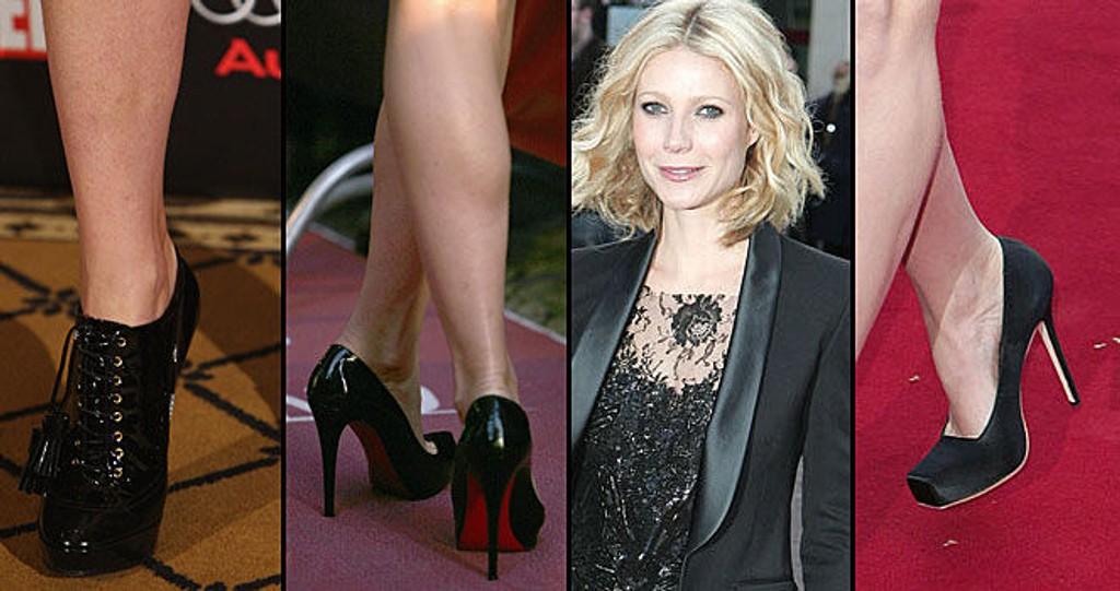 MANGE PAR: Gwyneth elsker sine sko og har med seg mange på tur. Fra høyre; ankelstiletter fra Givenchy, sko fra Christian Louboutin og de siste er fra Alexander McQueen.