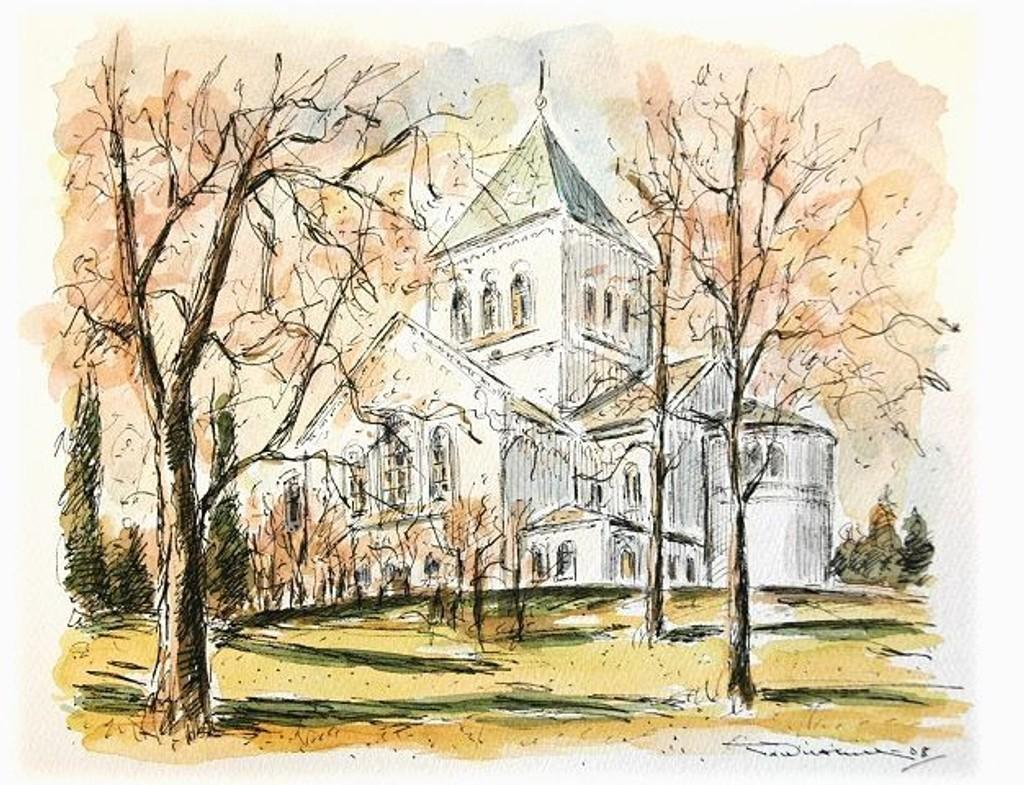 Ullern kirke ligger flott til på høyden på Ullern. Illustrasjon: Tor Wilthill