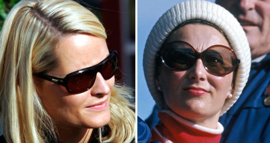 SOLBRILLEDRONNINGA: Dronning Sonja har alltid vært supertrendy i solbrilleveien - Mette-Marit mer klassisk. Se bildene nede i saken!