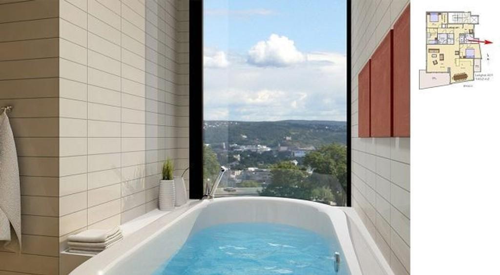 Luksus: En slik utsikt fra badekaret kan du vente deg i en leilighet i Øvre Ullernåsen Terrasse. foto: Privatmegleren residence