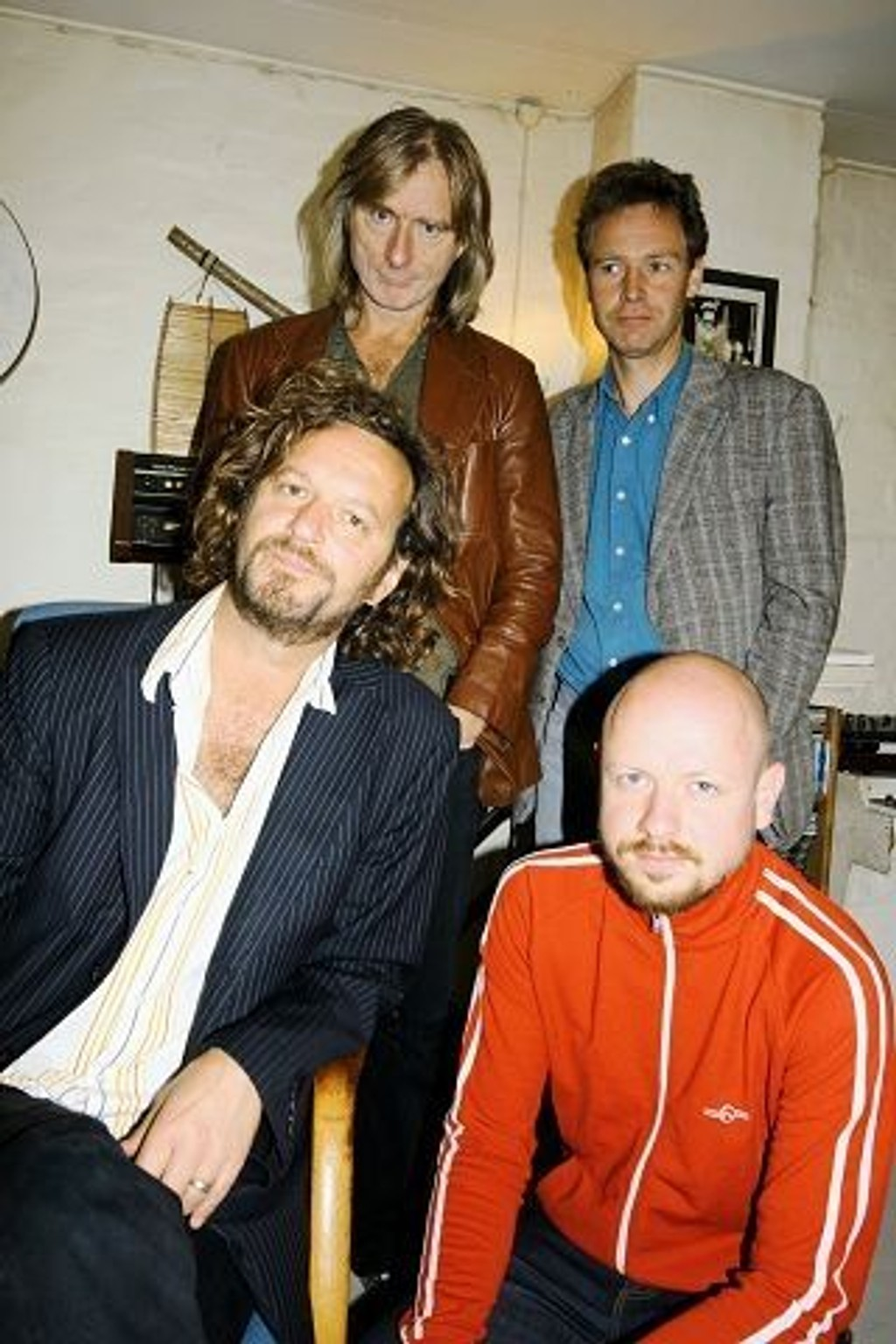 Lars Beckstrøm (foran til venstre), Marius Kristiansen, Tov Ramstad (bak til venstre) og Lars Birkelund gleder seg til kveldens konsert på Soria Moria. FOTO: MAREN THORSEN BLESKESTAD