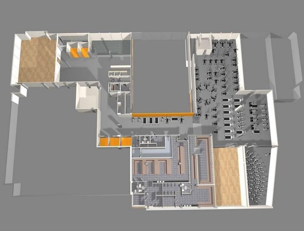 Her er illustrasjonen over det nye SATS-senteret på Solli.