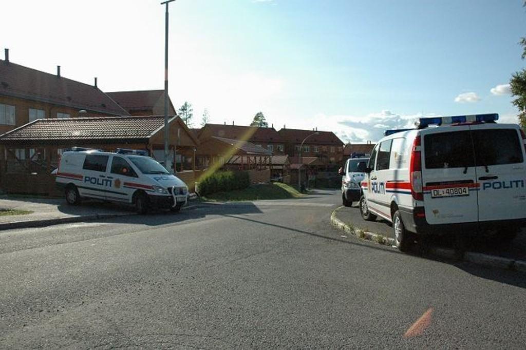 De store bilene sto i Gamle Bygdevei, mens en mindre bil kjørte inn i Granebakken.