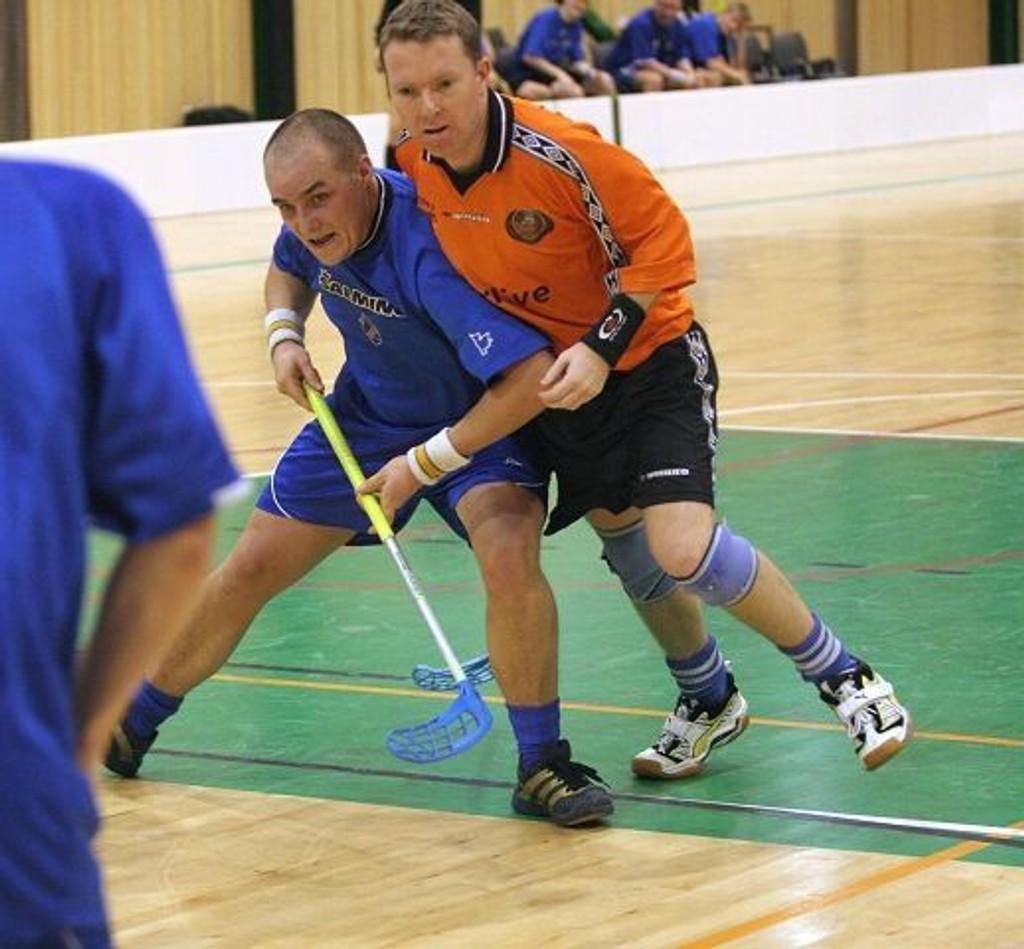 Kyrre Merg er en kjent profil i Grei-miljøet som både spiller og trener. Nå har han fått sparken som landslagstrener. Her i duell med Christian Haksø på Lindeberg Lazy Ducks. Arkivbilde