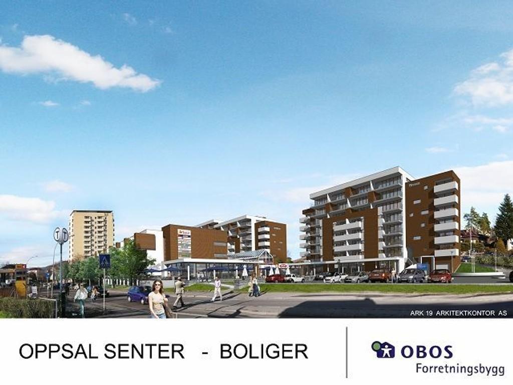 Obos ønsker å bygge 140 leiligheter, samt utvide Oppsal kjøpesenter med 1000 kvadratmeter fordelt på i hovedsak større dagligvareforretning og mer areal til kafe/restaurant. Obos opplyser at de også ønsker å skape et et nytt møtested/torg for oppsalbeboere i alle aldersgrupper.  Illustrasjon: Obos forretningsbygg