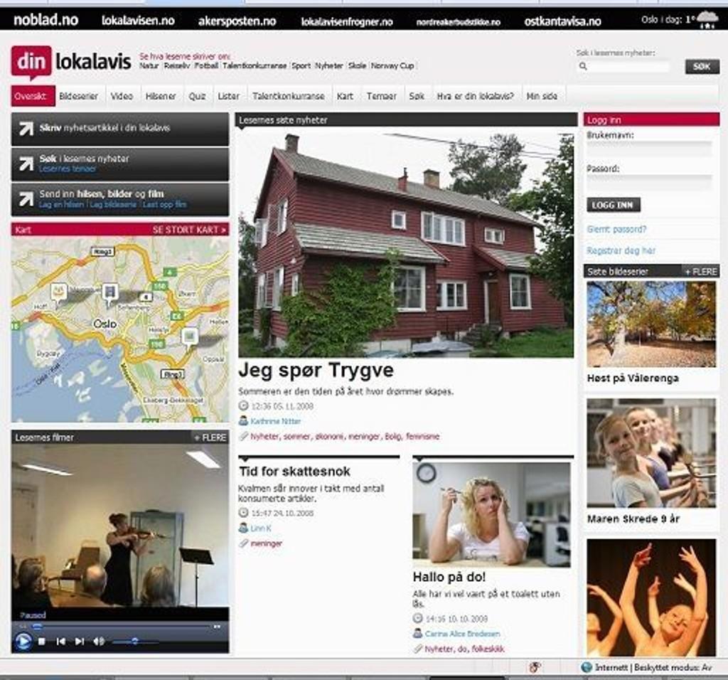 Her er avisa du kan lage helt på egenhånd! FOTO: WWW.DINLOKALAVIS.NO