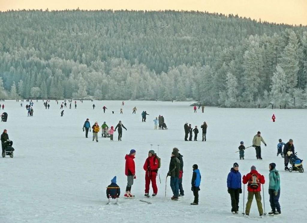 Det var mange som benyttet årets første dag til å gå på skøyter på Nøklevann. Foto: Knut Sørby