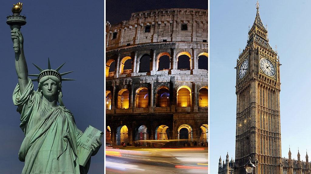 STORBY FRISTER: De klassiske storbyene er fortsatt yndede reisemål for nordmenni i 2009. Her New York, Roma og London.