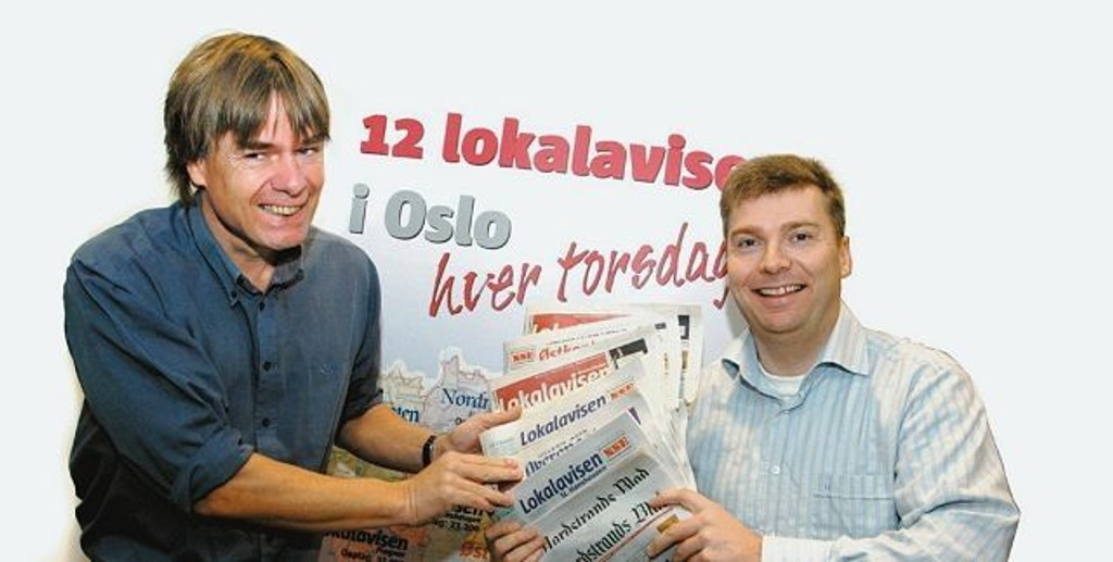 Ansvarlige redaktører i Lokalavisene Oslo AS, Ivar Brynildsen (t.v.) og Tore Bollingmo, ser frem til stort engasjement i kåringen av Årets Navn 2008.