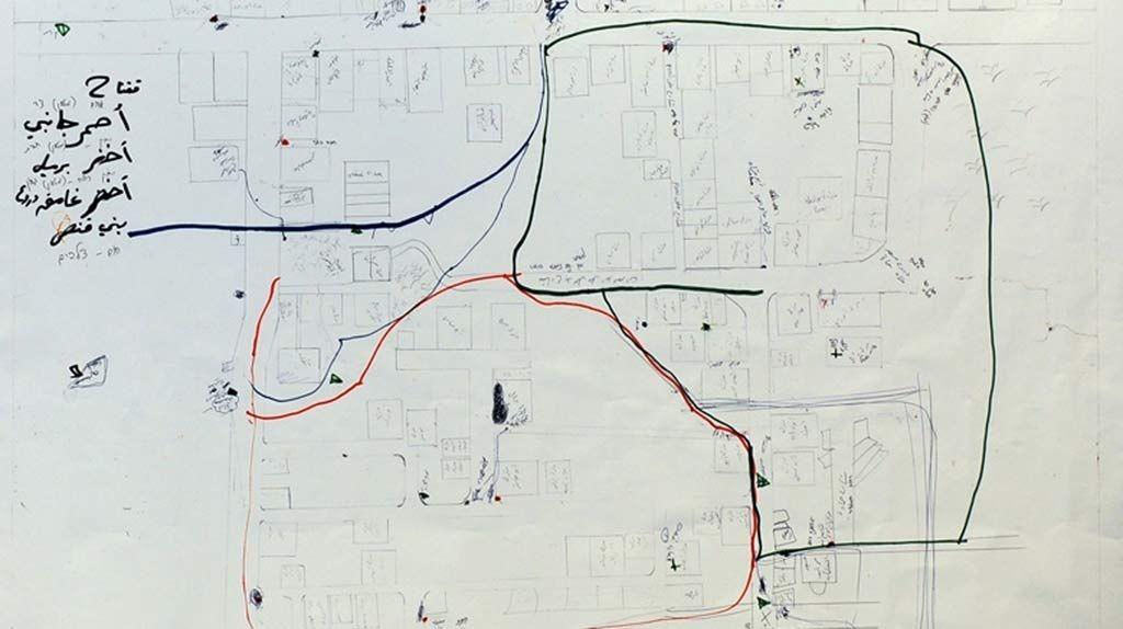 Kart over deler av Gaza by funnet av israelske styrker. Kartet viser militære disposisjoner.