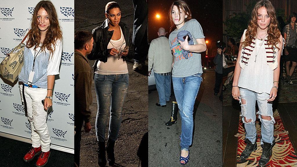 SLITT UTTRYKK: Corey Kennedy, Beyonce Knowles og Ashley Greene i hullete jeans.