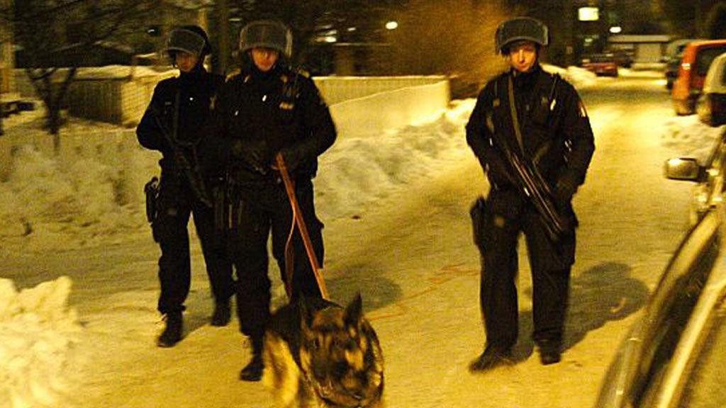 RANET BARNEFAMILIE: Her på Økern i Oslo gikk de fire utenlandske ranerne til angrep med våpen for å rane til seg gjenstander og penger.