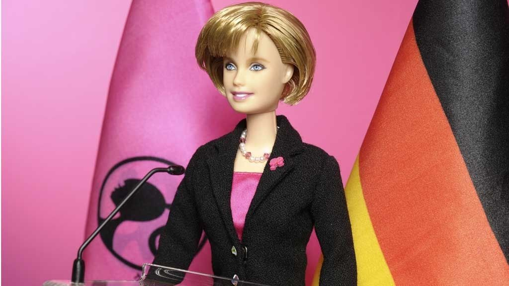 A handout picture shows Angela Merkel Barbie doll that will be unveiled during the 60th International Toy Fair in Nuremberg February 5, 2009. Barbie has chosen to honour and recognise the Chancellor Merkel as a very modern role model for girls around the world.The doll's outfit consists of a single breasted trouser suit in black wool crepe. The jacket can be opened and closed with realistic snaps. Inside the jacket, it has a beautiful Barbie Pink satin lining that matches Merkel s blouse. REUTERS/Mattel/Handout (GERMANY). FOR EDITORIAL USE ONLY. NOT FOR SALE FOR MARKETING OR ADVERTISING CAMPAIGNS.
