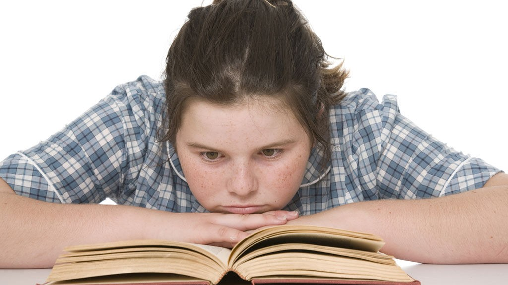 jente, leser, bok, elev