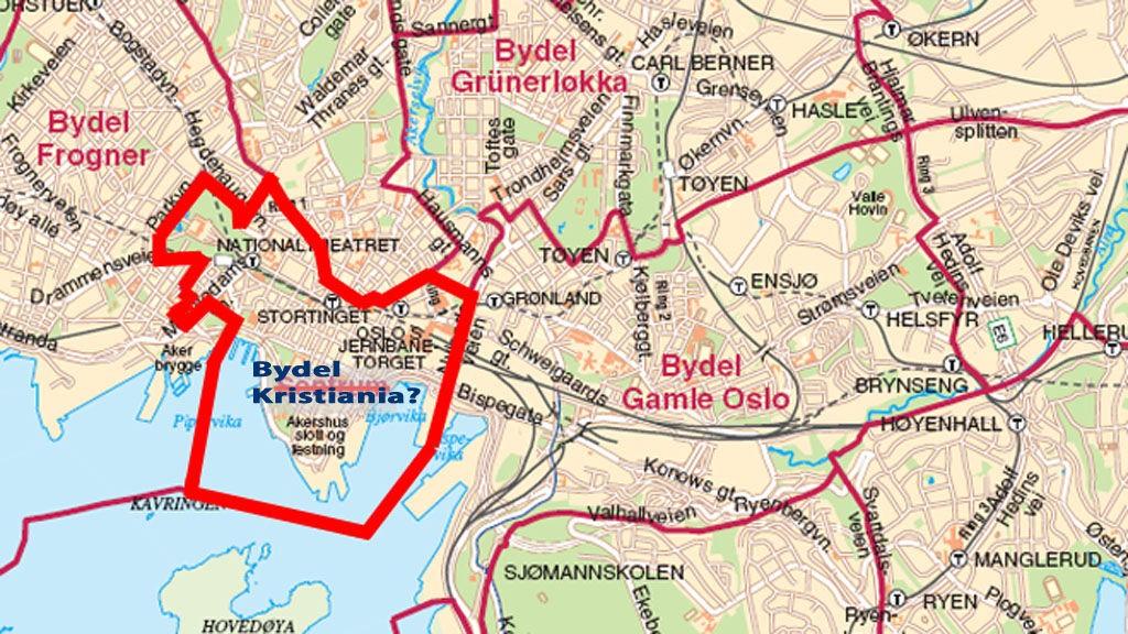 Det er dette området, det som i dag er den administrative enheten Sentrum, Kultur- og utdanningskomiteen i Oslo vil endre navnet på.