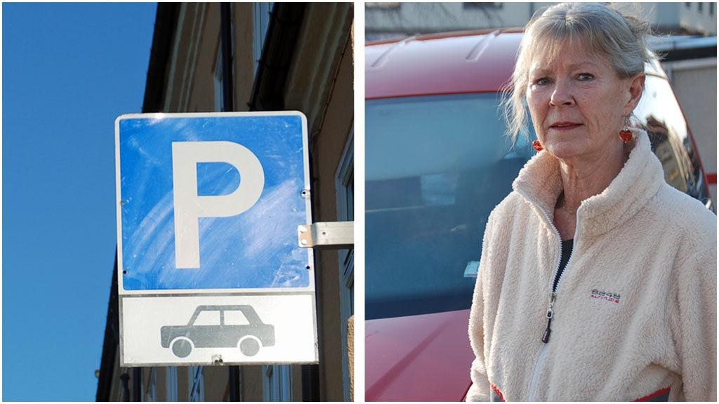 MOLBO? Gro Kongsten kan ikke parkere med sin lille varebil i Johan Svendsens gate, fordi bussen hadde problemer med å komme forbi lastebilene som pleide å parkere i gata.