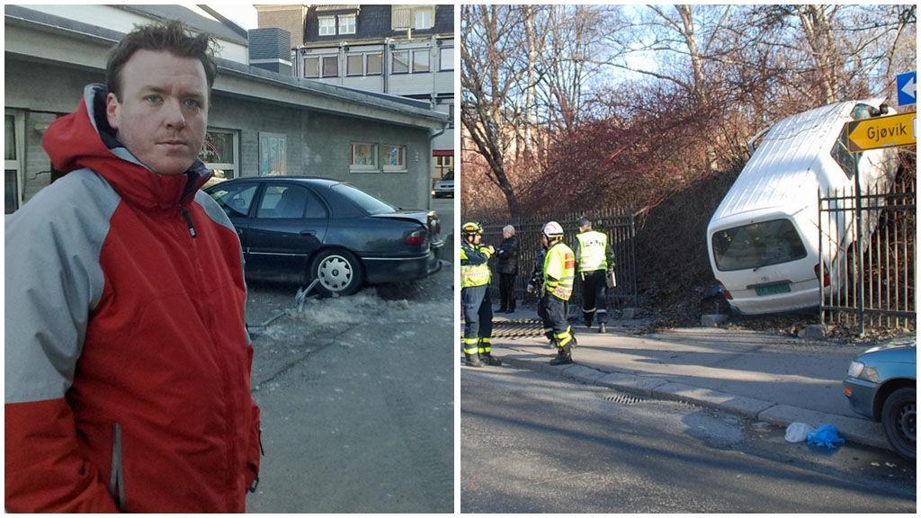 ULYKKELIG: Her står bilen til Ole Christian Larsen (t.h.). Noen hundre meter lenger framme står varebilen som forårsaket ulykken.