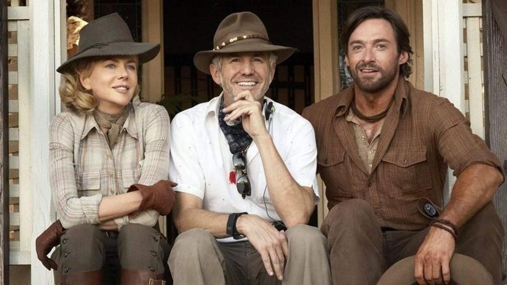 LANDSLAGET: Luhrmann (i midten) har mye pent å si om Hugh Jackman og Nicole Kidmans samarbeidsevner.