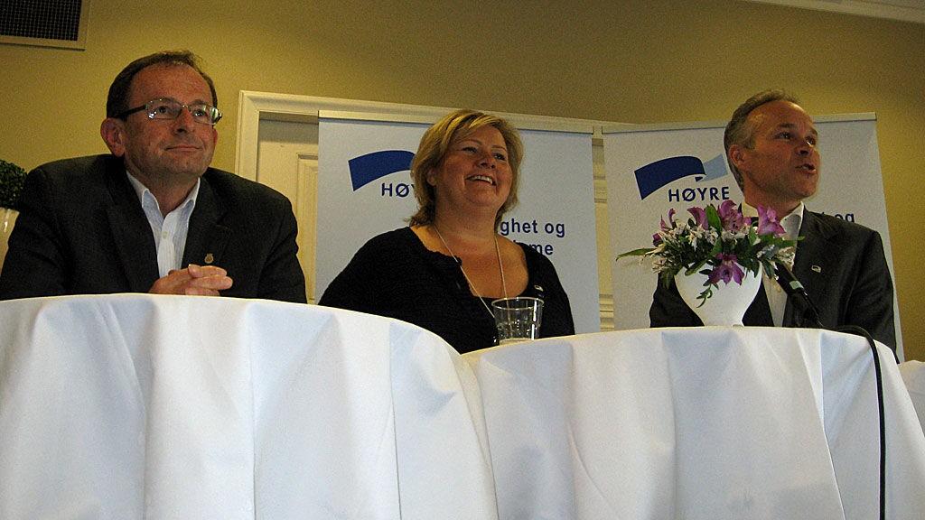 Erling Lae, Erna Solberg og Jan Tore Sanner - Høyre-ledere.