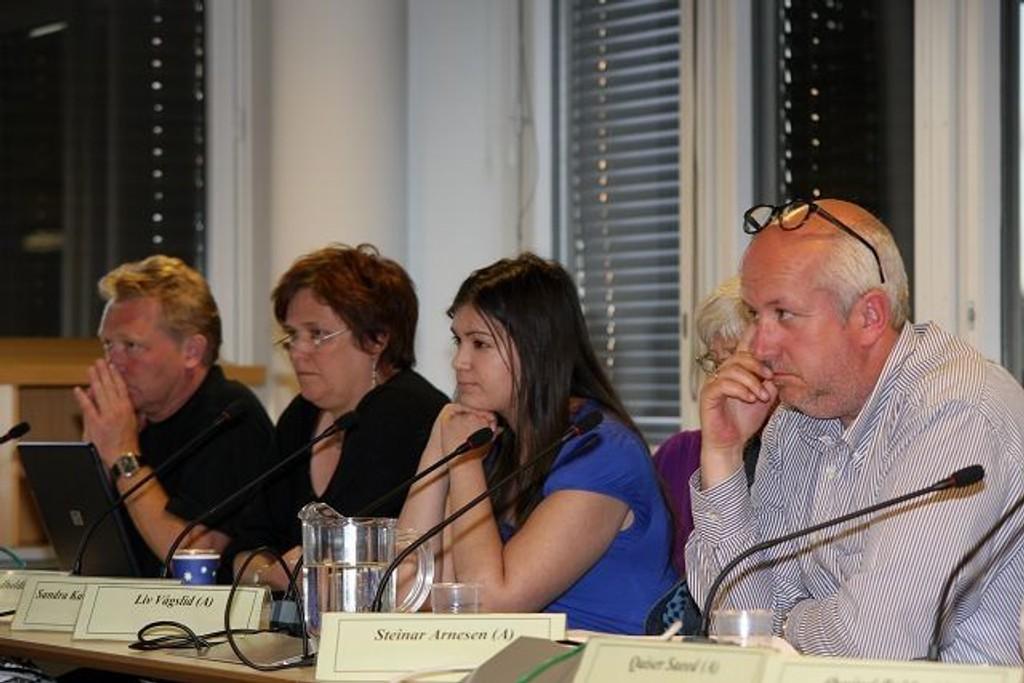 SVs Geirmund Jor og Mariane Sandholt var åpne for forenkling av komitéstrukturen, mens Ap, her ved Sandra Røysum, Liv Vågslid og Steinar Arnesen ønsket å opprettholde samtlige komiteer.