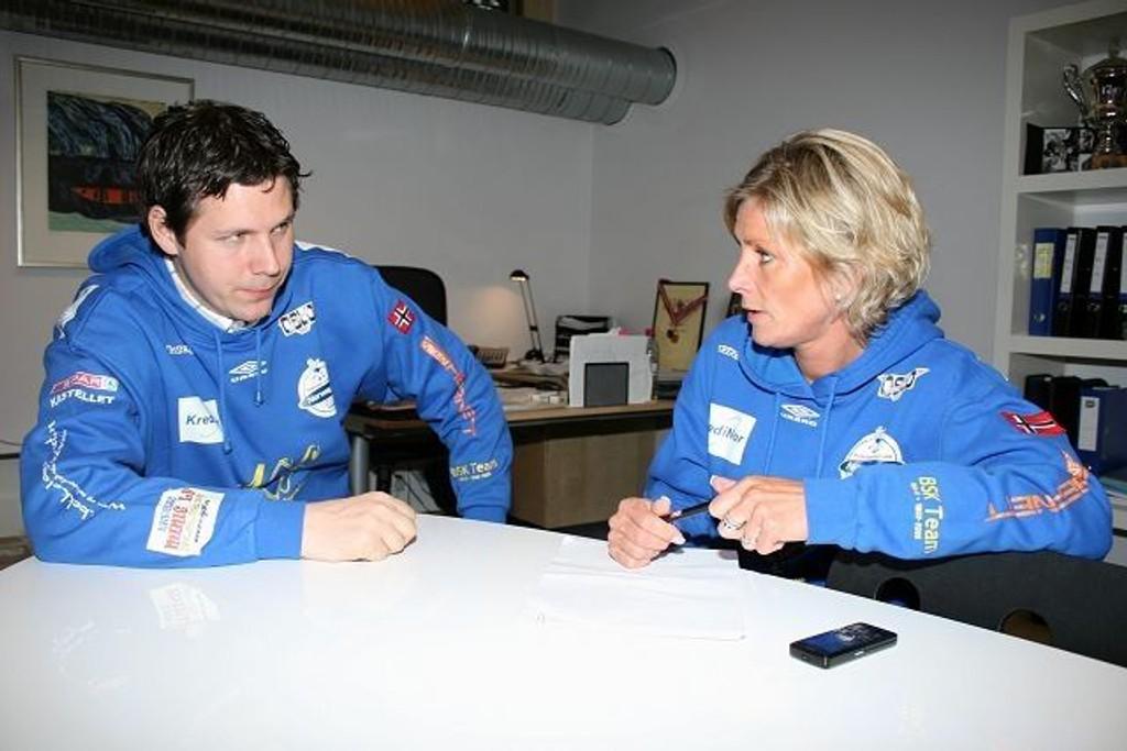 Kollegaer: Henrik Wilhelmsen er nyansatt sportssjef i BSK; mens Nina Kristiansen er daglig leder i håndballgruppa.