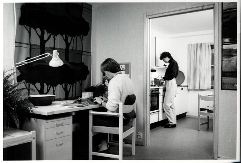Bildet er fra et av borettslagene på Holmlia og viser interiør fra tidlig 80-tallet.