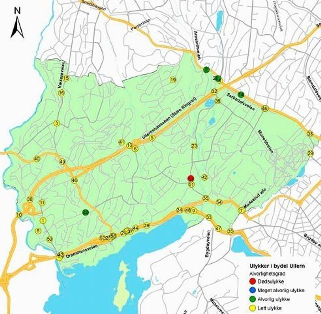 Slik er ulykkene fordelt i Bydel Ullern. Den røde er dødsulykke, de grønne er alvorlige ulykker og de gule er lette ulykker. Ill: Samferdselsetaten