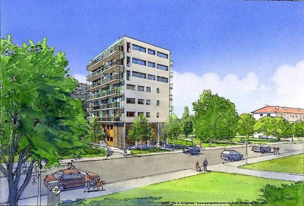 Oppsal Park med sine 21 leiligheter er planlagt bygget i Haakon Tveters vei 63. ILLUSTRASJON: NCC