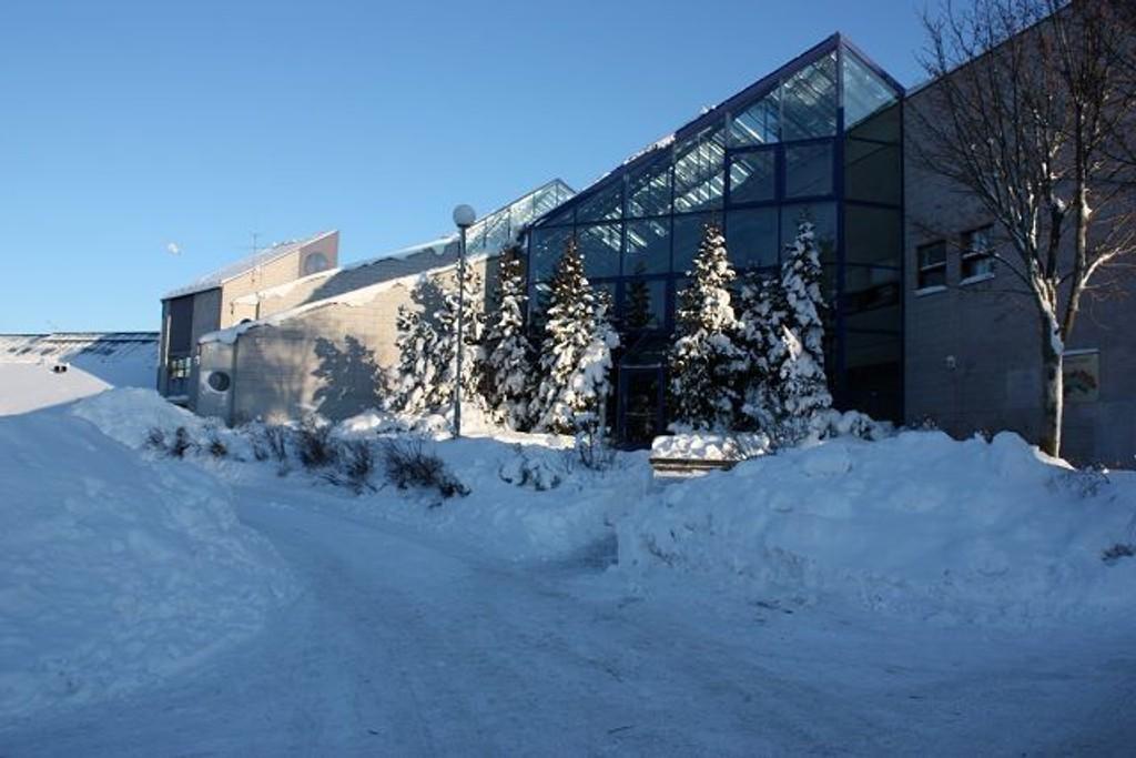 Elevene på 10. trinn ved Lofsrud skole ble sendt ut i kulda fredag etter kinaputt-kasting innndørs. Men fikk raskt slippe inn igjen. Foto:Arne Vidar Jenssen